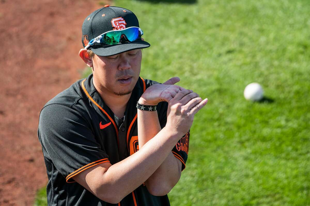 Shun Yamaguchi practices before opening day of Spring Training in the Cactus League at Scottsdale Stadium on Tuesday, Feb. 23, 2021, in Scottsdale, Ariz.