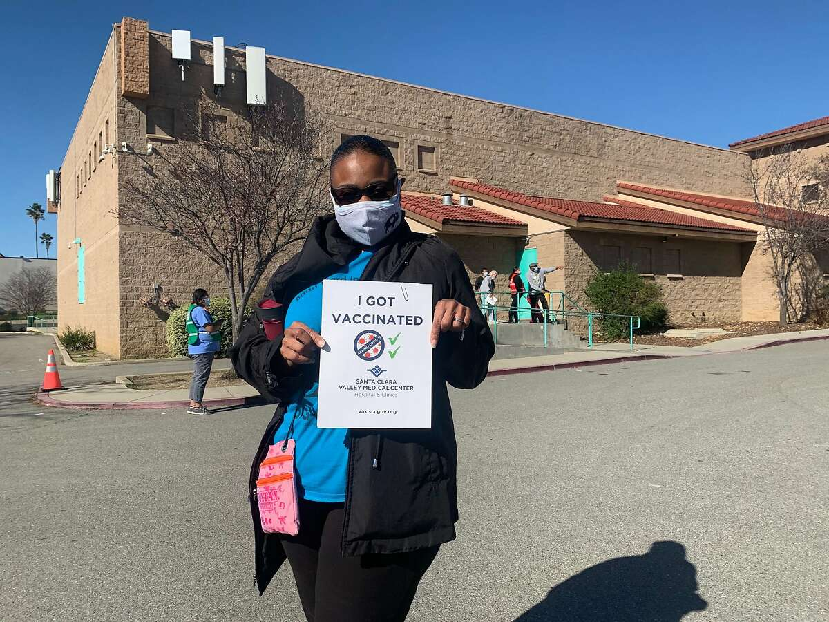 San Jose high school teacher Lesia Bravel, 56, was among hundreds of residents who were vaccinated at the walk-up vaccination site at Emmanuel Baptist Church on North White Road in East San Jose on Wednesday, Feb. 24, 2021.