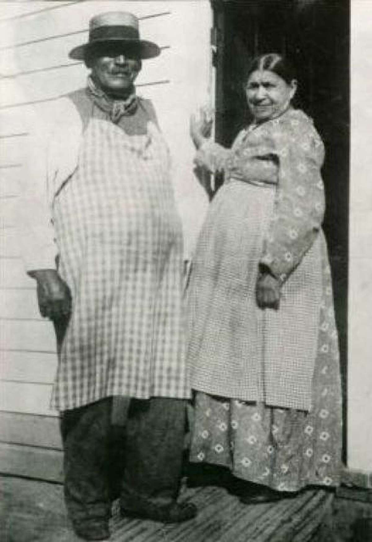 """George Crum, inventor of the potato chip, and his sister-in-law """"Aunt Kate"""" Weeks at Moon's Lake House in Saratoga Springs, New York."""