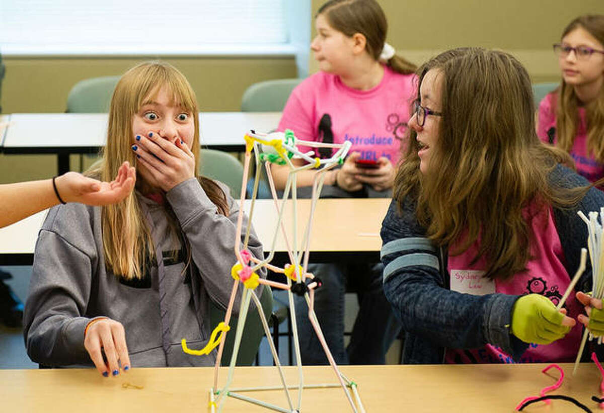 Prior to the coronavirus pandemic shutdown, students participate in the 2020 SIUE Society of Women Engineers Introduce a Girl to Engineering Day at the School of Engineering.