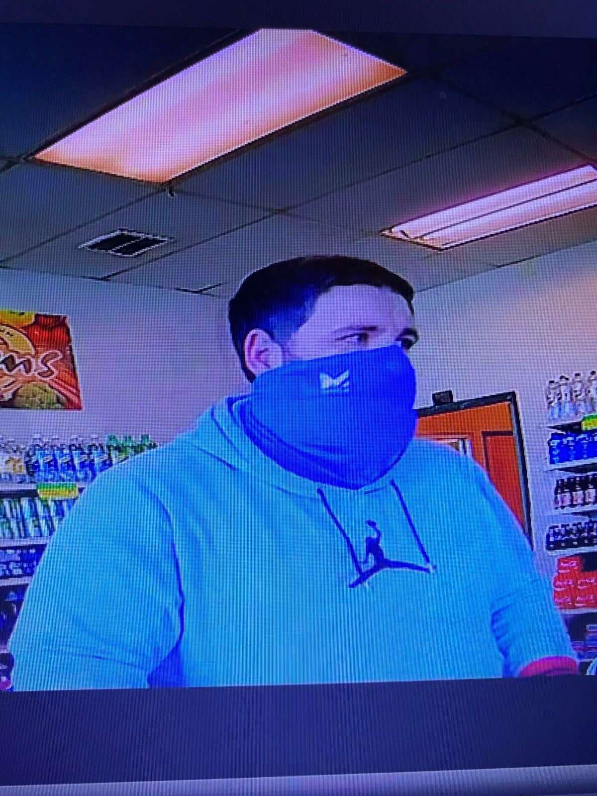 Police say this man stole 30 to 35 bags of shrimp from a Plymouth, Conn., store on Feb. 21, 2021.