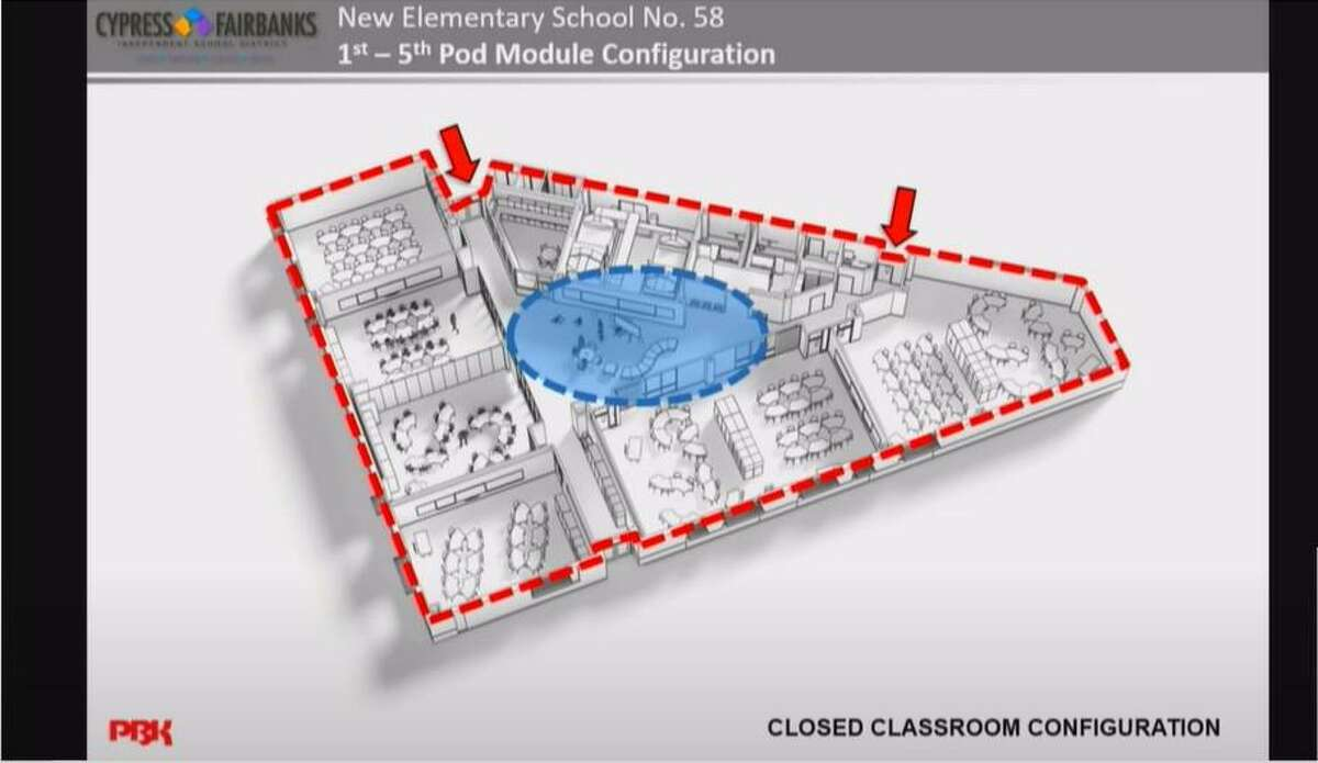 Cy-Fair ISD discussed the 2014 and 2019 bond projects, including Elementary Schools 57 and 58 including their anticipated layout.