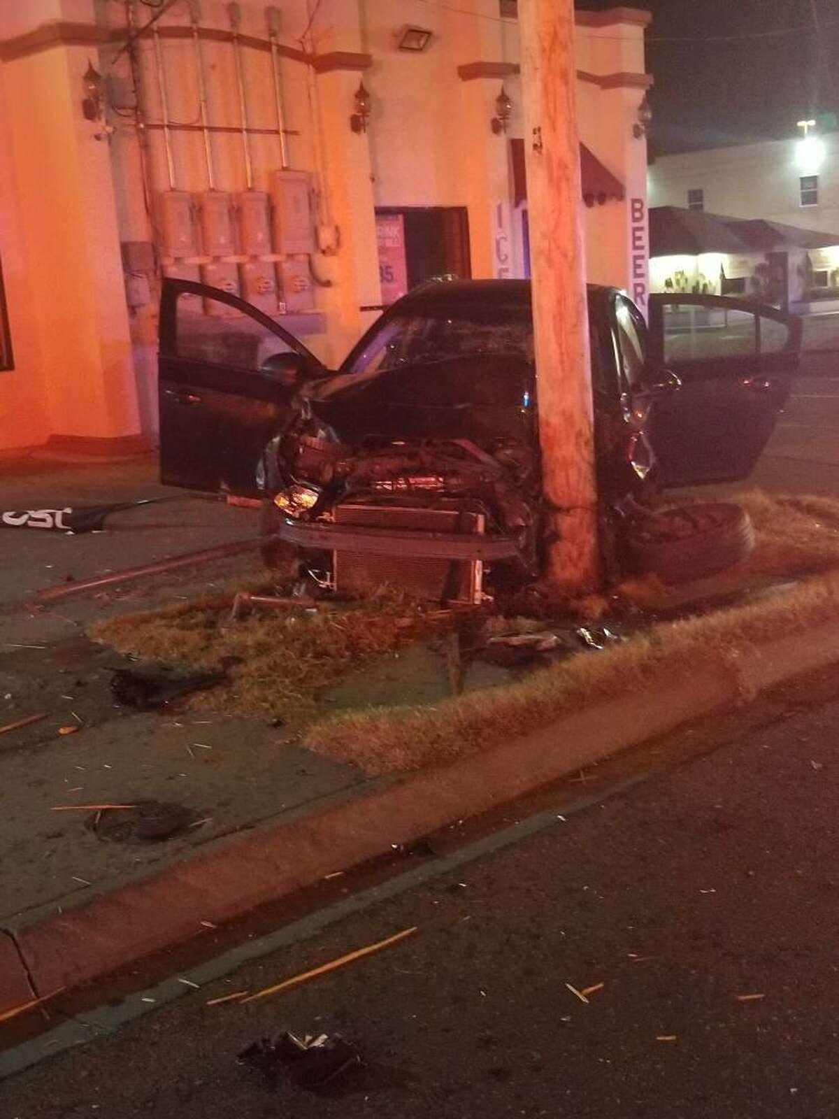 Two people were injured in a crash reported early Thursday near the intersection of West Saunders Street and Barcelona Avenue.