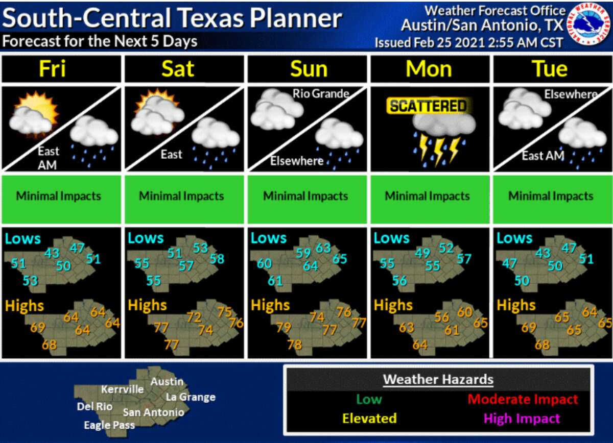 There is a 40 percent chance for rain Thursday night into Friday morning after a cold front moves through the area, according to the National Weather Service. You may want to keep an umbrella handy because there is a chance for rain through the weekend.