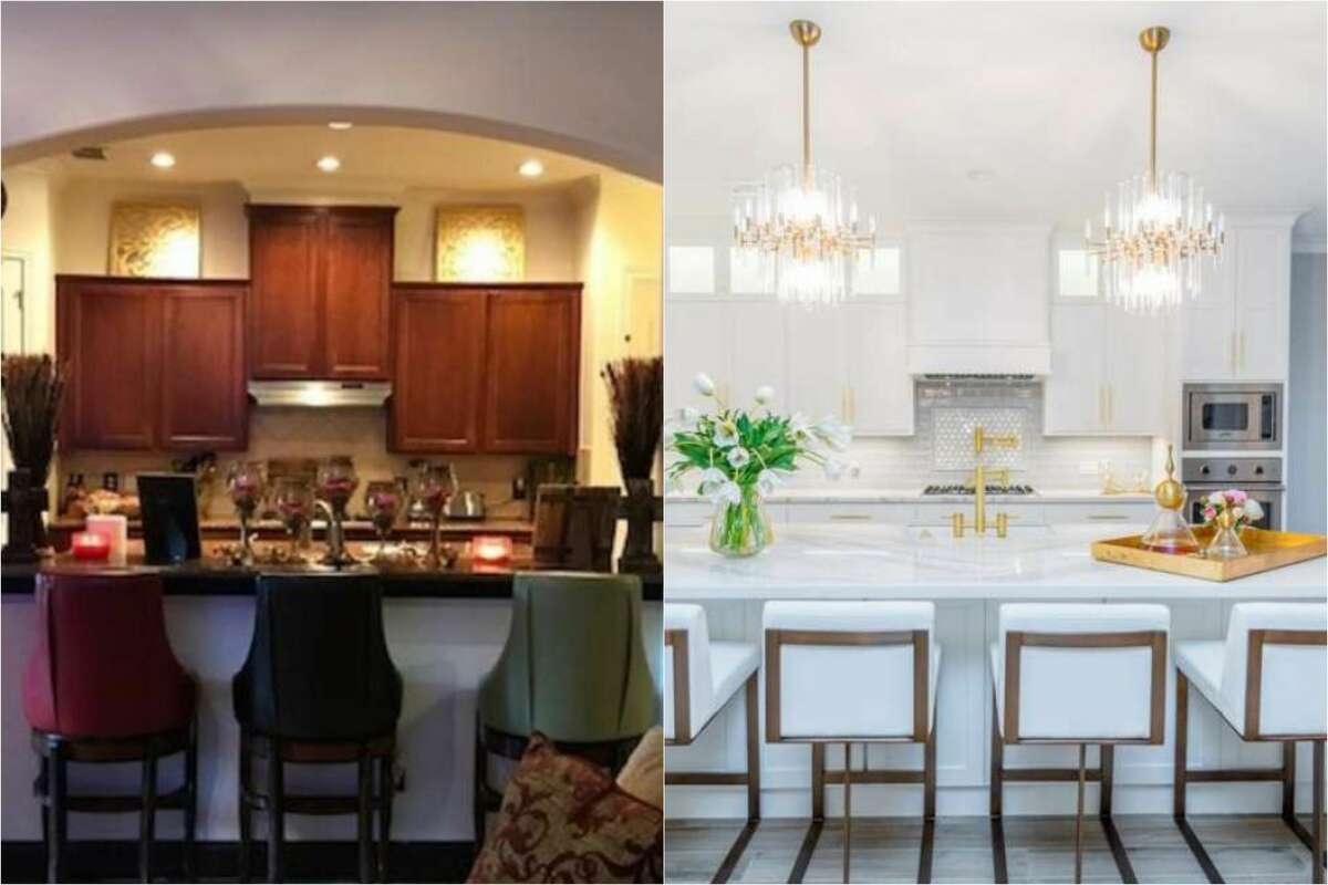 Before and after of Seabrook home that goes from dark and dated to contemporary.