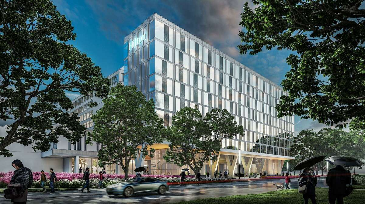 A rendering of the 86-room Hilton University of Houston hotel which is slated to undergo a $30.4 million expansion and renovation of the beginning in March 2021.