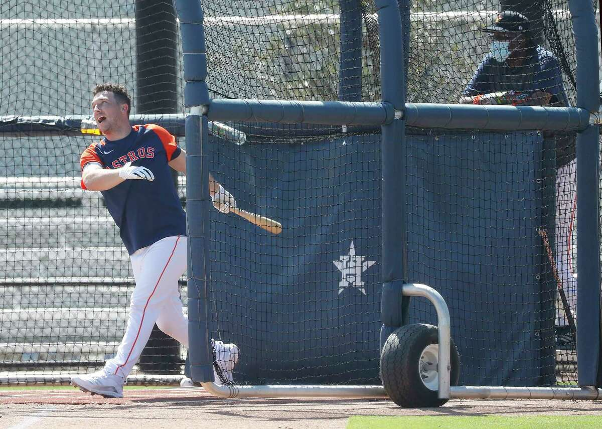 Houston Astros Alex Bregman takes batting practice during spring training workouts for the Astros at Ballpark of the Palm Beaches in West Palm Beach, Florida, Thursday, February 25, 2021.
