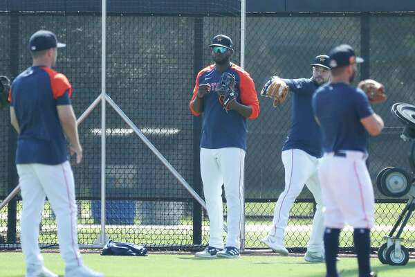 Houston Astros outfielder Yordan Alvarez joined the team for warmups on the field during spring training workouts for the Astros at Ballpark of the Palm Beaches in West Palm Beach, Florida, Thursday, February 25, 2021.