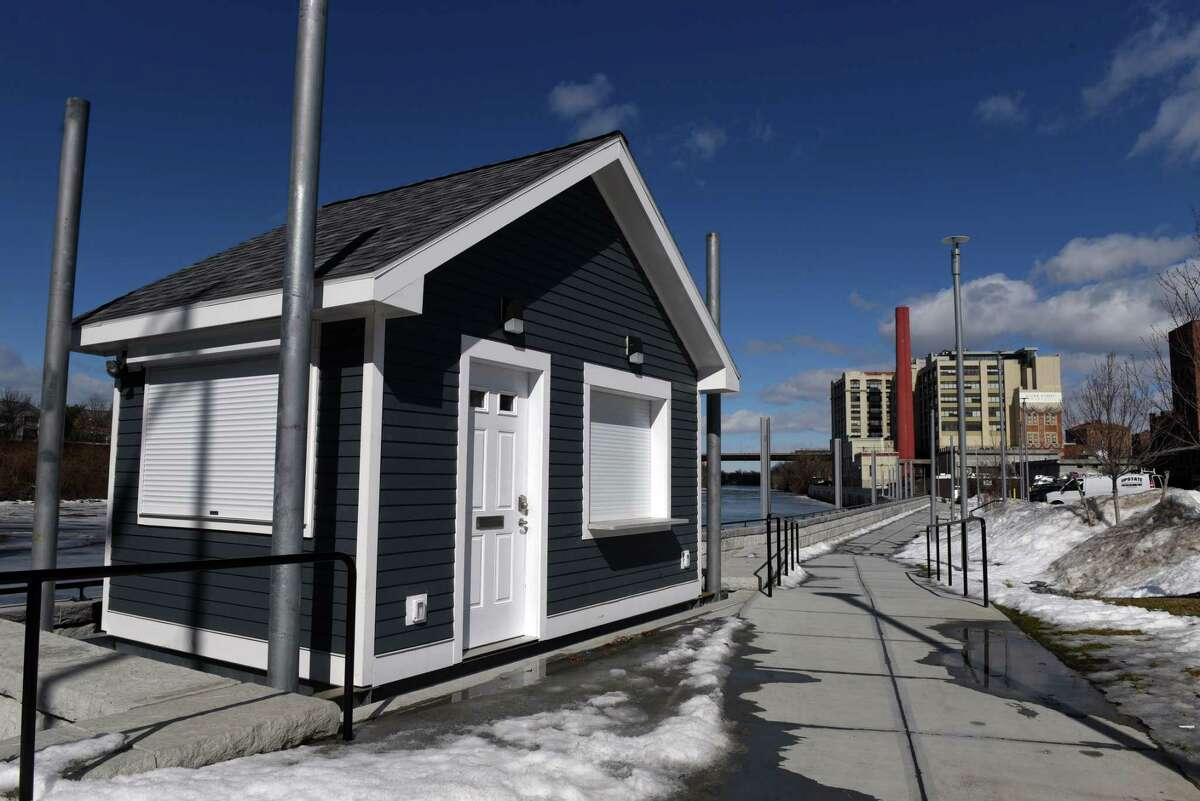 A new dock master's building was constructed for the Troy Marina on Thursday, Feb. 25, 2021, in Troy, N.Y. (Will Waldron/Times Union)