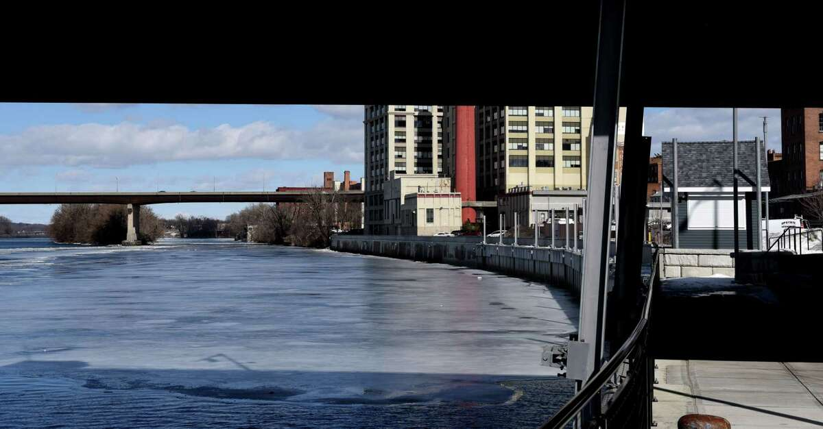 View of the Troy Marina looking under the Green Island Bridge on Thursday, Feb. 25, 2021, on the Hudson River in Troy, N.Y. (Will Waldron/Times Union)