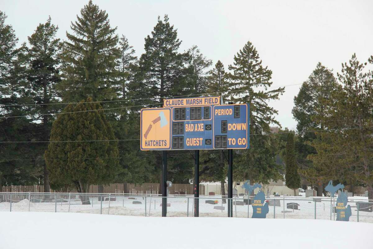 The scoreboard at the Bad Axe football field. It along with several other scoreboards at Bad Axe athletic fields are due to be replaced later this year. (Robert Creenan/Huron Daily Tribune)