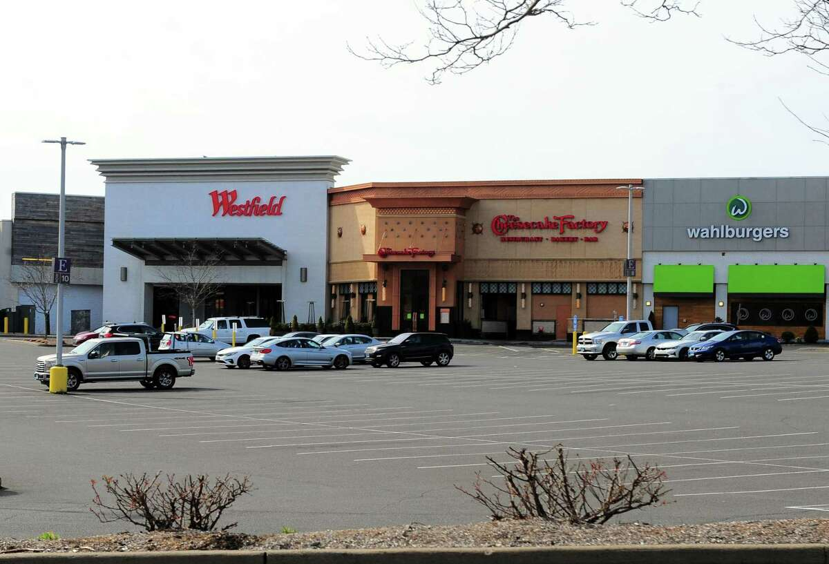 The Westfield Trumbull mall in March 2020, after Gov. Ned Lamont ordered malls closed in an effort to contain the rate of COVID-19 infections in Connecticut. Mall owner Unibail-Rodamco-Westfield plans a sell-off of much of its U.S. portfolio, with no immediate indication whether the Trumbull mall is on the block.