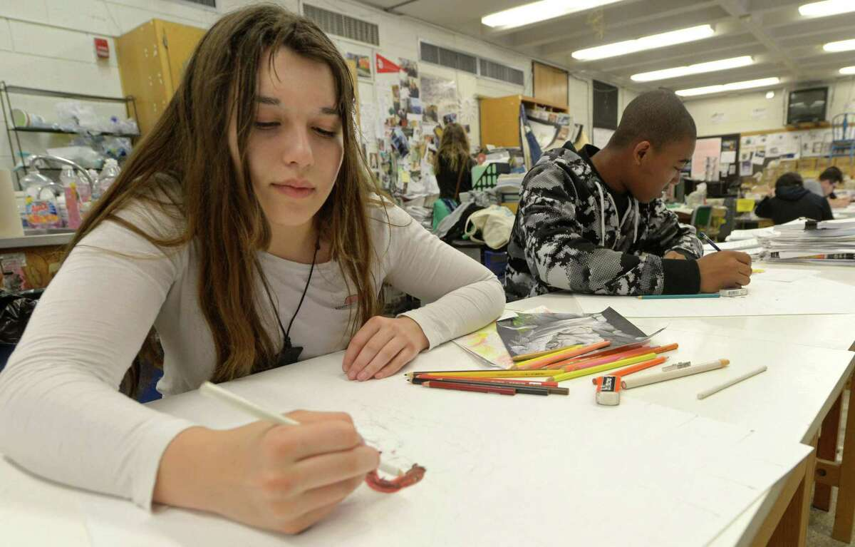 Norwalk High School sophmore Bella Janke sketches during Patricia O'Connor's Art 2 Class Wednesday, April 27, 2017, at the school in Norwalk, Conn.