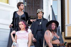 (L to R) Yasmine Rosa, Fiera Ferrari, Guerilla Davis, and Nikita Lewis pose for a photo in Oakland, CA.