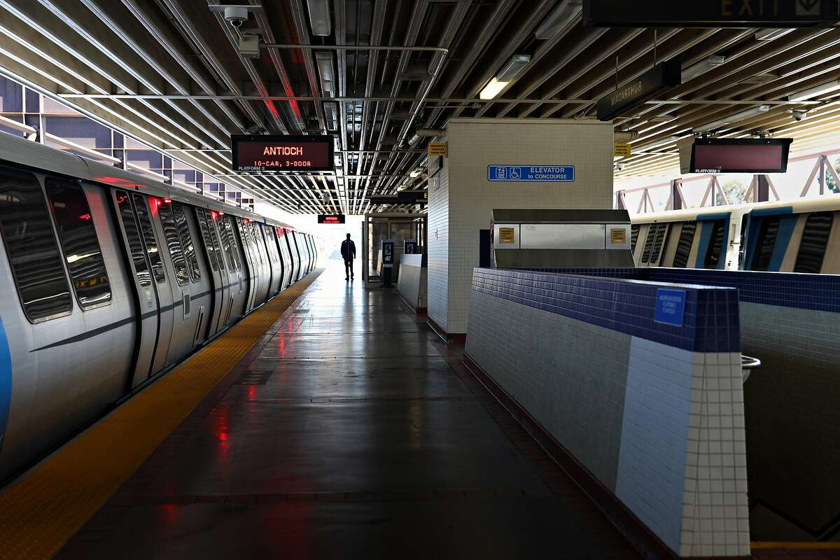 The MacArthur BART Station is nearly empty on a Thursday morning in April. Ridership on the transit system has plunged during the coronavirus pandemic.