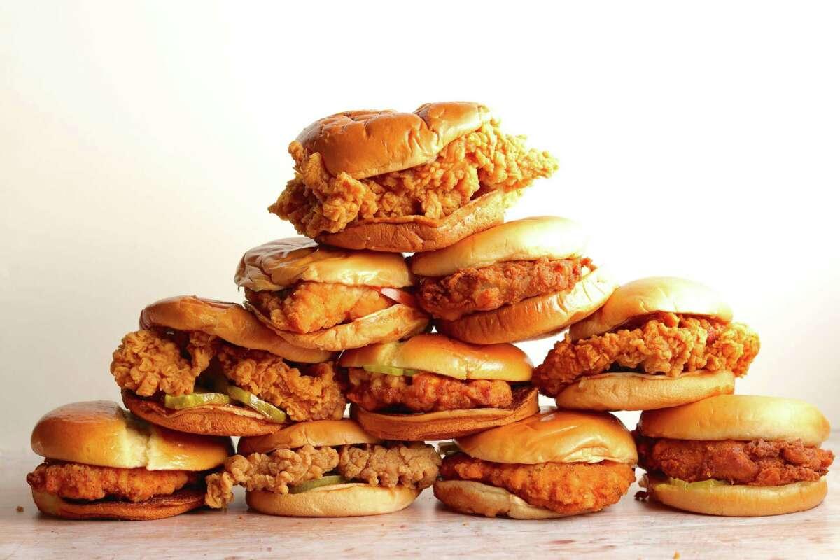 Fried chicken sandwiches from fast food restaurants.