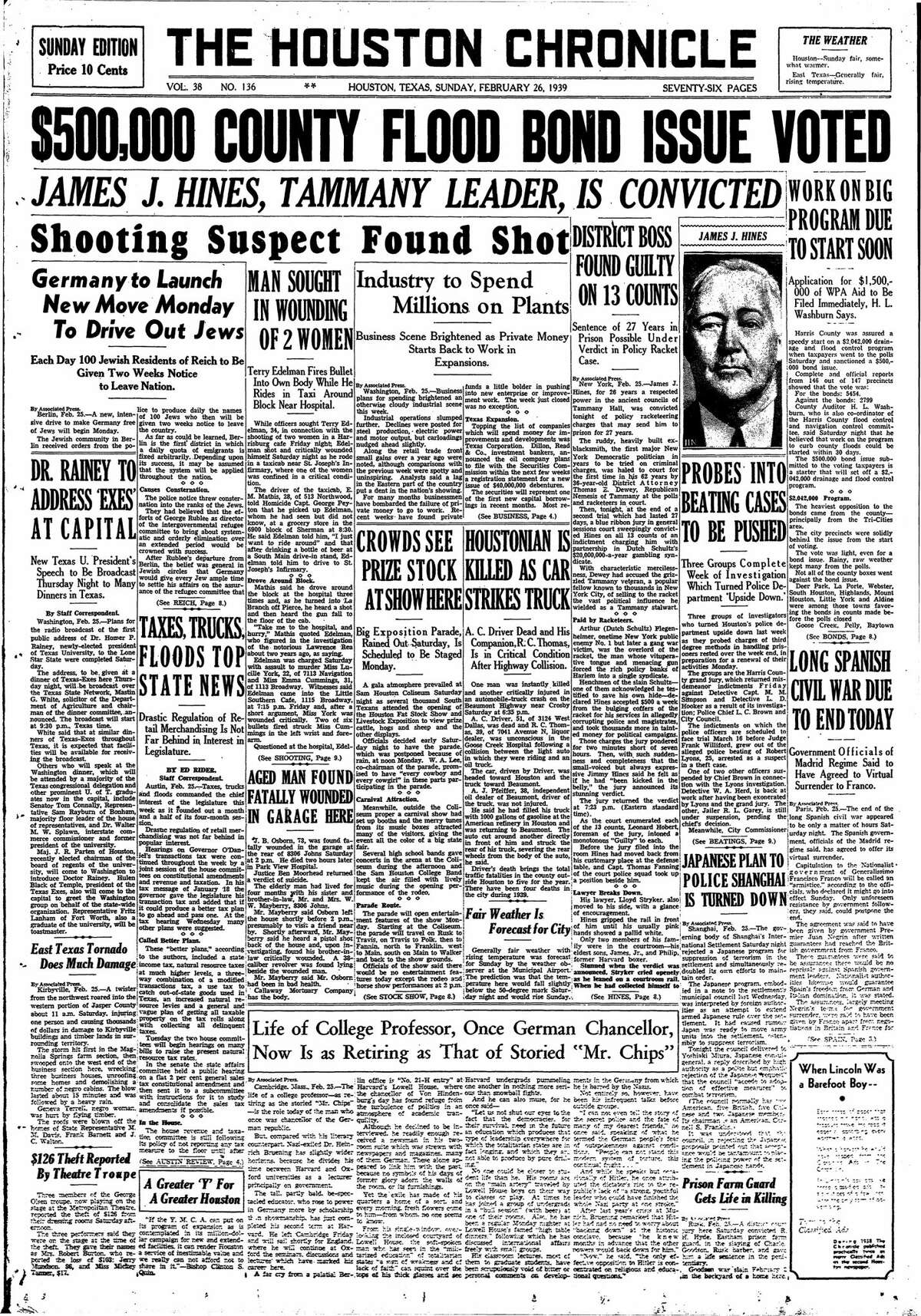 Houston Chronicle front page from Feb. 26, 1939.