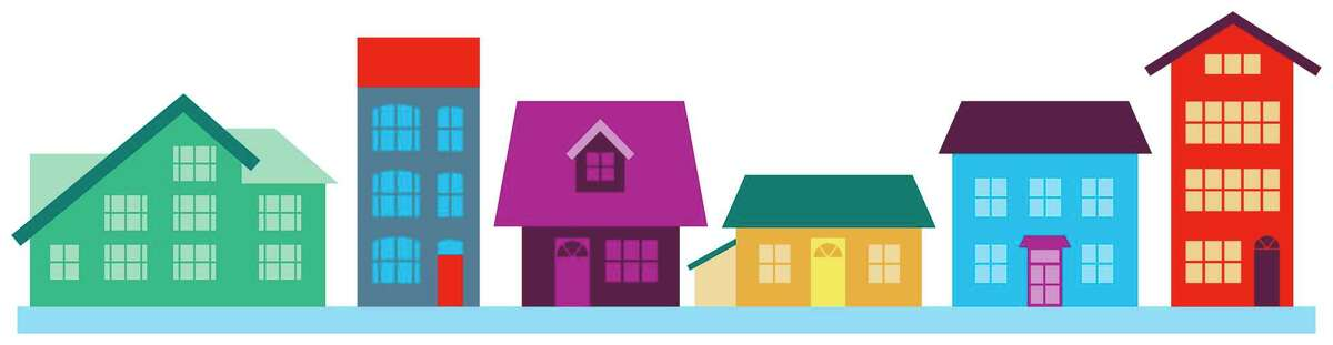 Houses of different colours, shapes and sizes