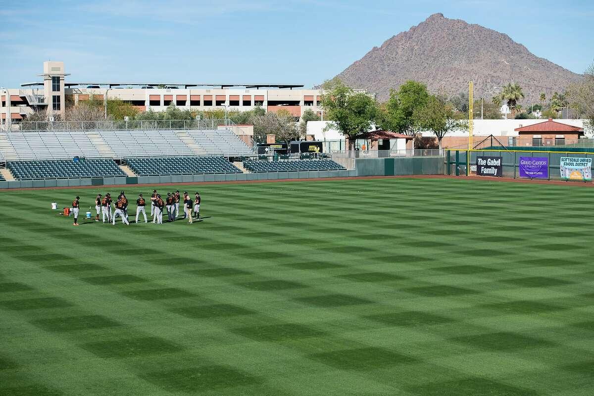 San Francisco Giants practice at Scottsdale Stadium on Tuesday, Feb. 23, 2021, in Scottsdale, Ariz.