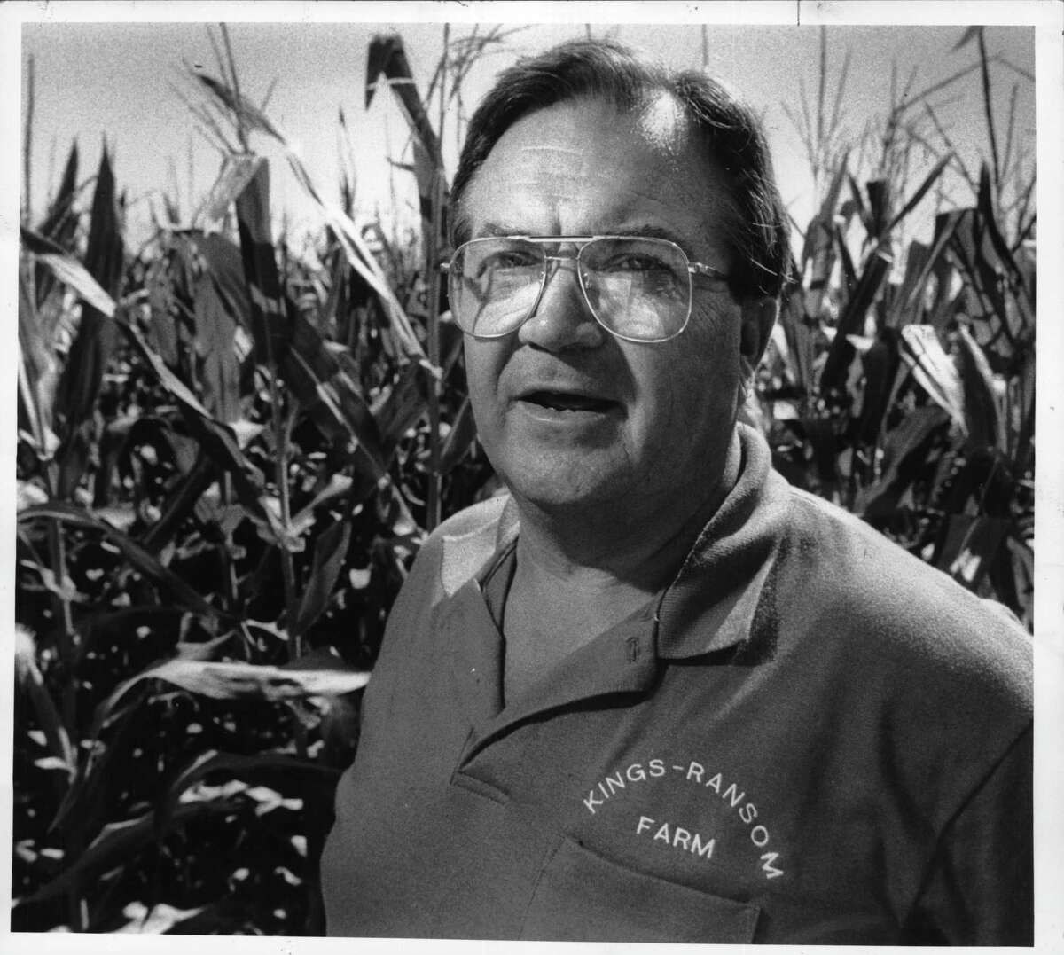 Edgar King, in one of his corn fields, 1991.