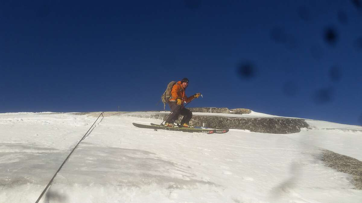 Jason Torlano on the ski descent of Half Dome in Yosemite