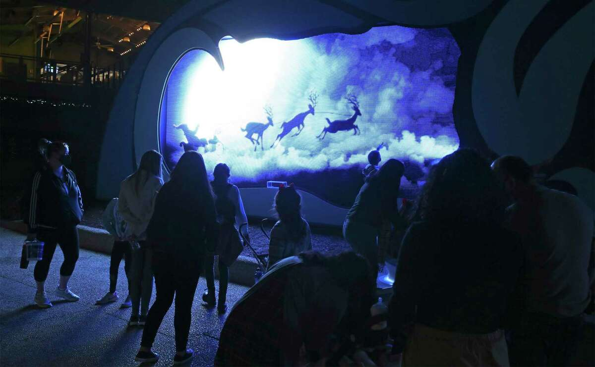 SeaWorld park President Byron Surrett shows off the Christmas lighting on Dec. 21, 2020.
