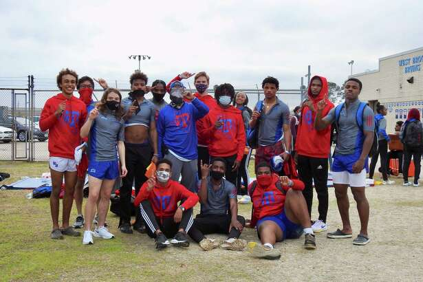 The West Brook boys track team poses for a picture after winning the Ed Taylor Invite on Wednesday in Beaumont.
