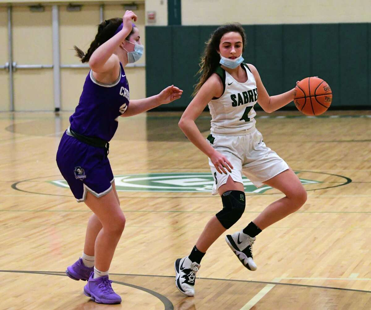 Schalmont junior point guard Payton Graber, right, started for the Sabres as a seventh-grader and now has 1,364 points.(Lori Van Buren/Times Union)