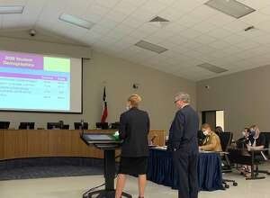 Beaumont administrators Anita Frank and Randall Maxwell present the district's annual report at a public hearing on Thursday, Feb. 25, 2021. Photo by Isaac Windes / Beaumont Enterprise