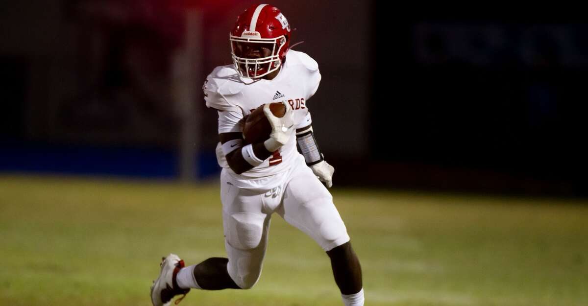 El Campo rb Rueben Owens II rushes for a touchdown during the first half of action between El Campo vs Needville during a high school football game at the Blue Jay Stadium, Friday, November 6, 2020, in Needville. (Juan DeLeon/Contributor)
