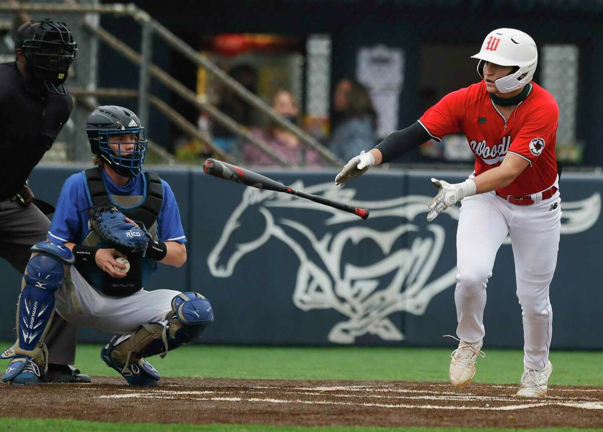 Justin Barry-Smith #7 of The Woodlands draws a walk during the first inning of a pre-season baseball game at Kingwood High School, Thursday, Feb. 25, 2021, in Kingwood.