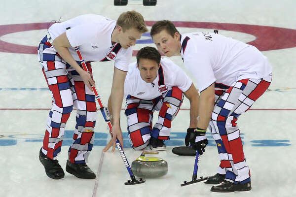 Norway's colorful curliers compete in the 2014 Sochi Winter Games.