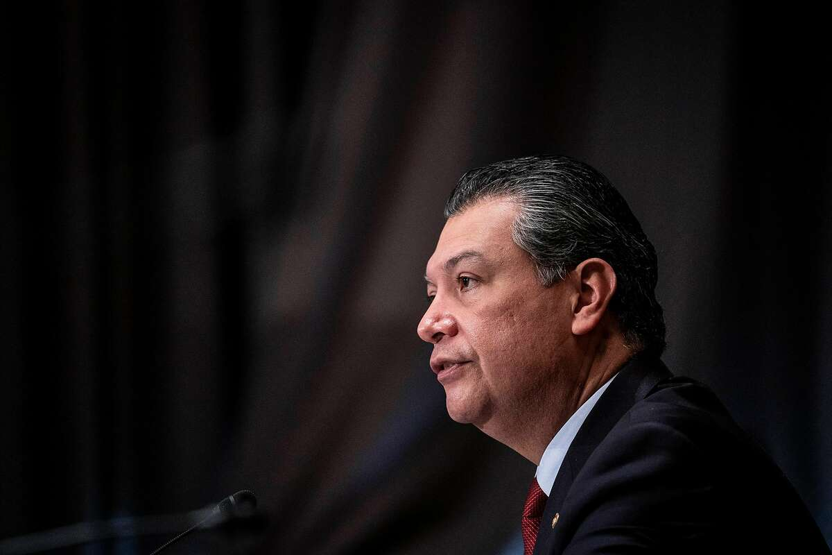 Sen. Alex Padilla on February 23, 2021 in Washington, DC. Becerra was previously the Attorney General of California. Padilla is unveiling his first piece of legislation Friday, a bill that would offer millions of immigrant essential workers and their families a path to citizenship.