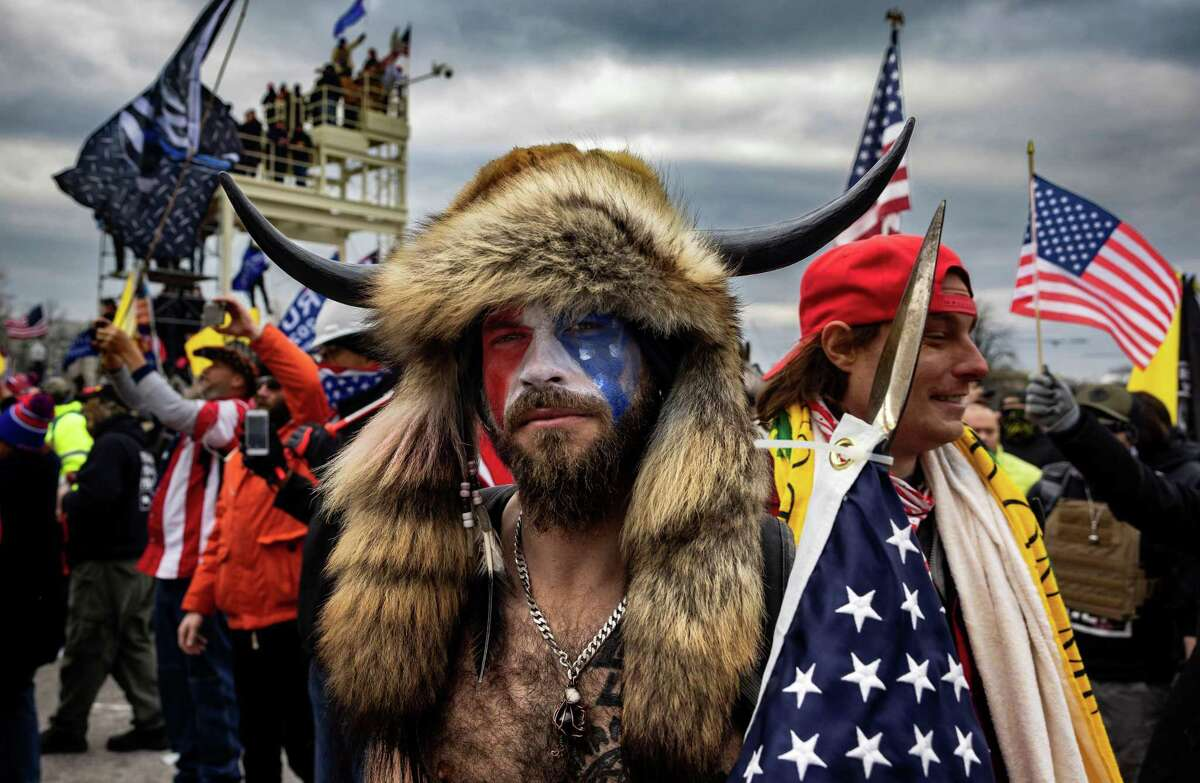 Jacob Anthony Angeli Chansley, known as the QAnon Shaman, is seen at the Capital riots on January 6, 2021. (Brent Stirton/Getty Images/TNS)