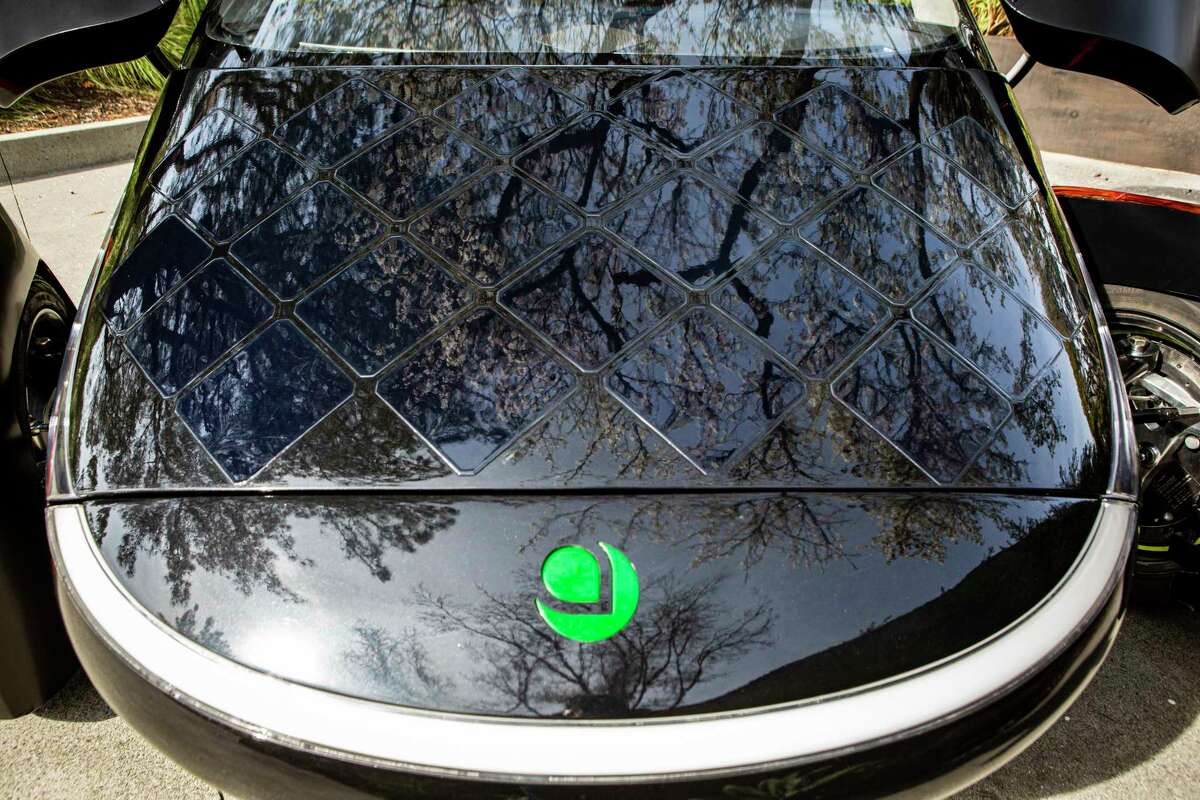 Solar cells cover the hood of the new Aptera solar electric vehicle.
