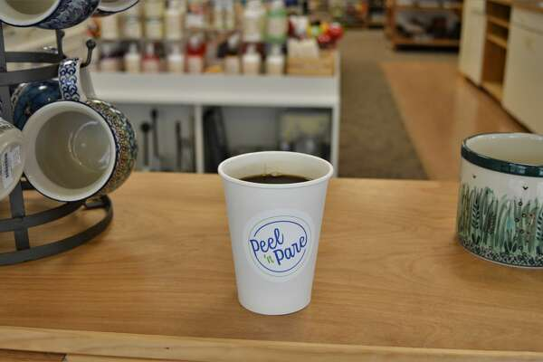 Peel 'n Pare in downtown Midland recently implemented a coffee club subscription to engage customers and is also working to modernize its logo. (Ashley Schafer/ashley.schafer@hearstnp.com)