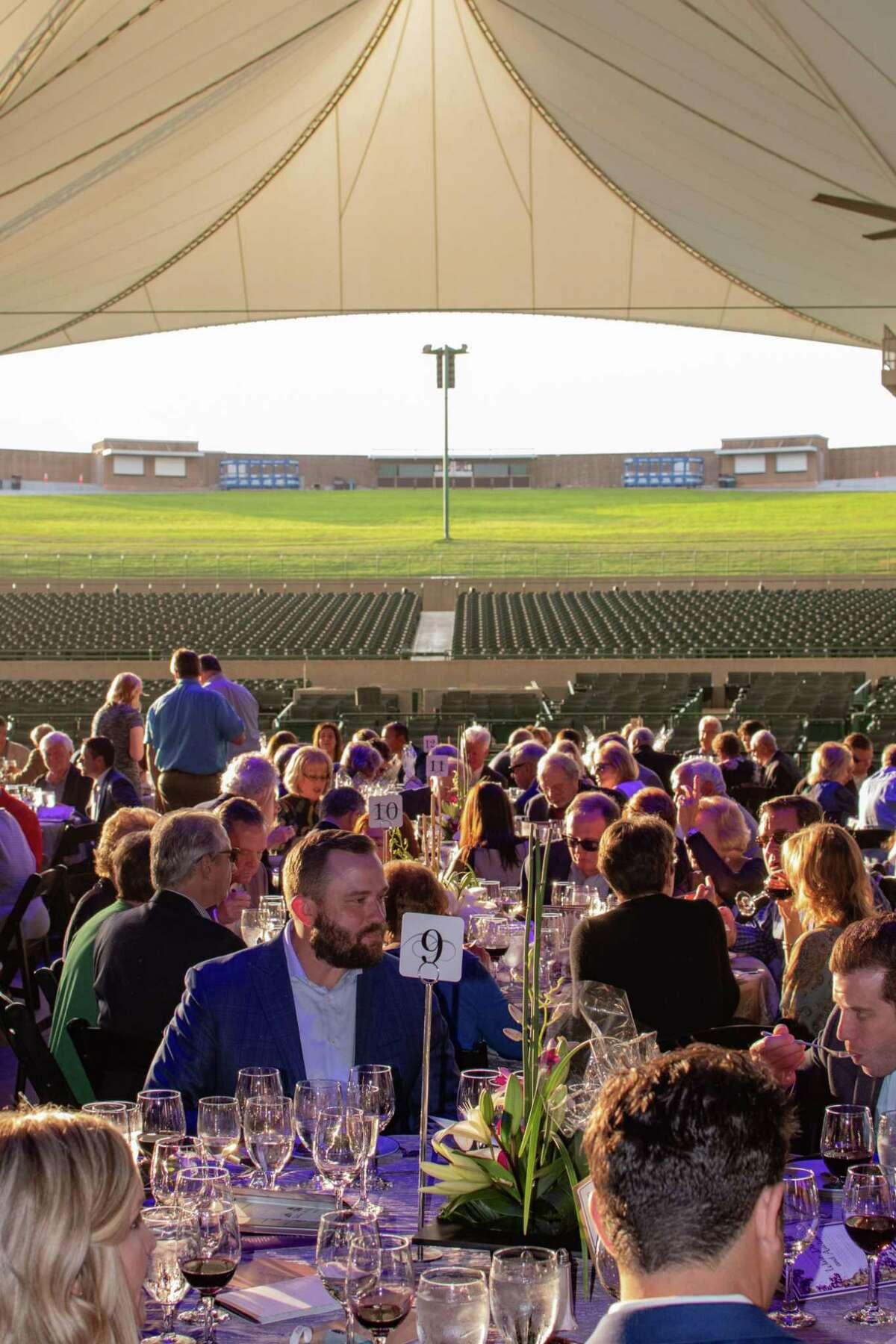The Pavilion Partners, the official volunteer organization of The Cynthia Woods Mitchell Pavilion will hold its previously rescheduled 21st Annual Wine Dinner and Auction Sunday, May 16 at 5 p.m. at The Pavilion. This exclusive dinner funds scholarships for local students pursuing the fine arts in higher education. This picture is from the 2019 event.