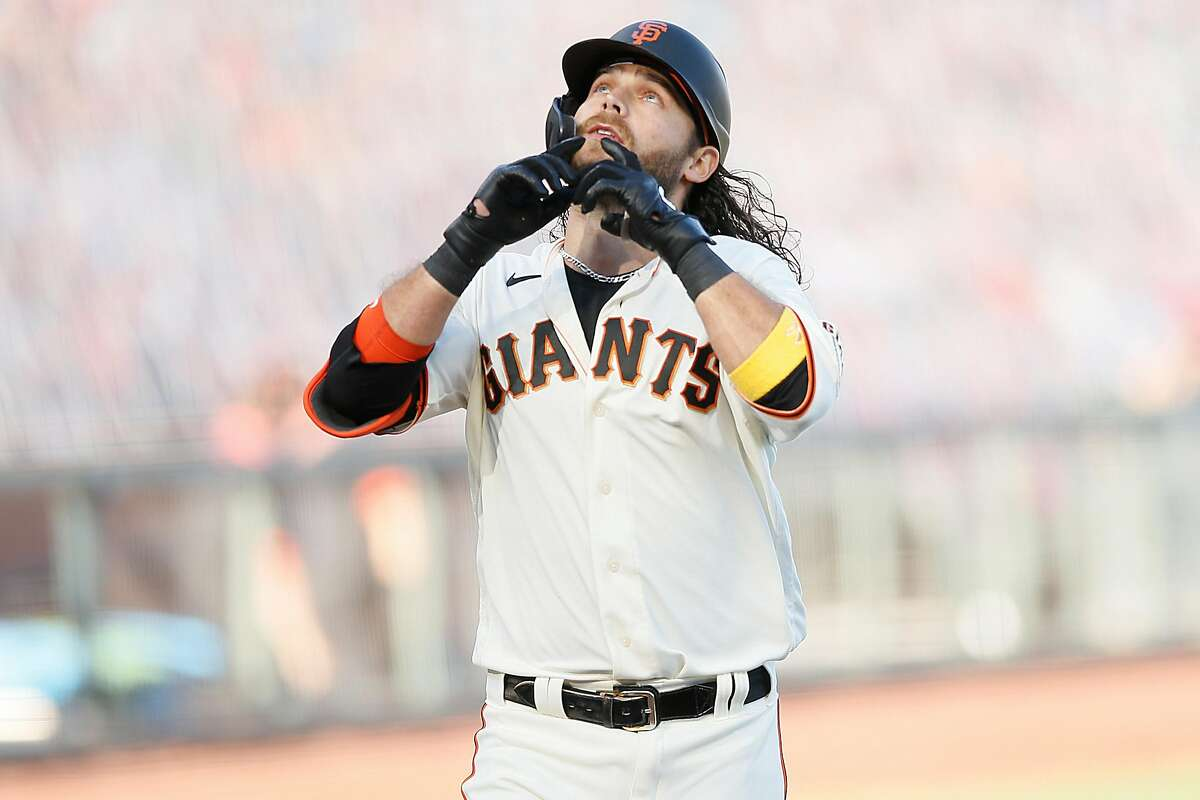 San Francisco Giants Brandon Crawford (35) reacts on his way to home plate after his home run against the San Diego Padres in the second inning during an MLB game at Oracle Park, Friday, Sept. 25, 2020, in San Francisco, Calif. They played in game one of a doubleheader.