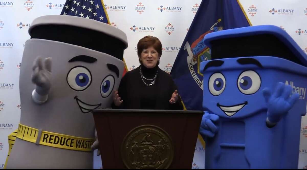 Albany Mayor Kathy Sheehan introduces two mascots, Phil the Bin and Les Waste, that are part of the city's push to overhaul it's recycling program.