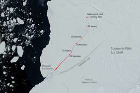 Satellite imagery shows the cracks in the Brunt Ice Shelf as of Feb 12, 2021.
