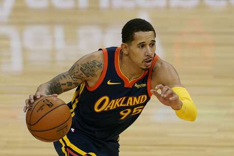 Golden State Warriors forward Juan Toscano-Anderson against the Miami Heat during an NBA basketball game in San Francisco, Wednesday, Feb. 17, 2021. (AP Photo/Jeff Chiu)