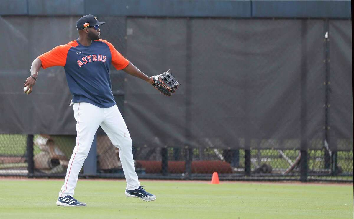 Houston Astros outfielder Yordan Alvarez (44) throws during spring training workouts for the Astros at Ballpark of the Palm Beaches in West Palm Beach, Florida, Friday, February 26, 2021.