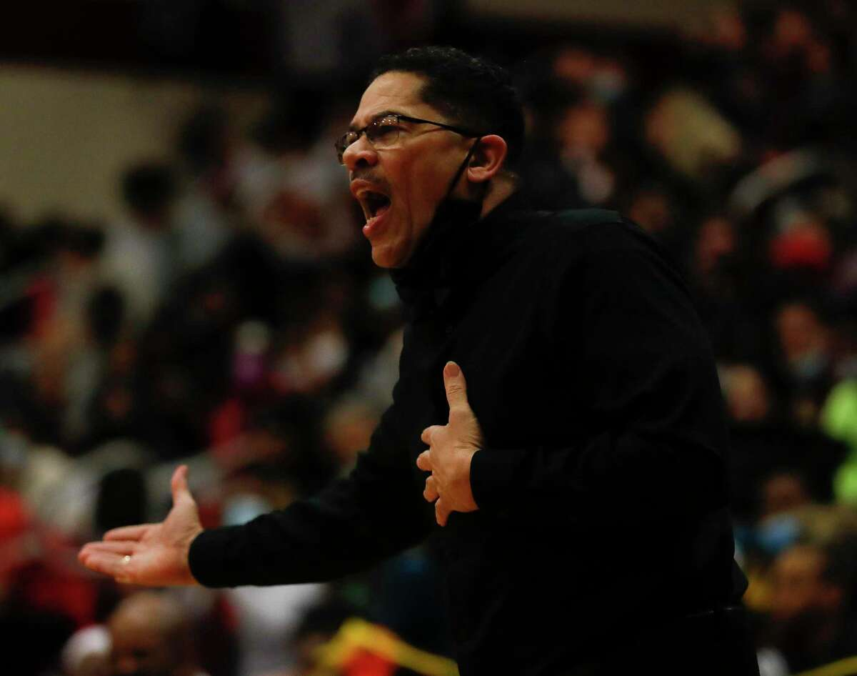 Summer Creek head coach Kenneth Coleman reacts to a call during the first quarter of a District 21-6A high school basketball game at Summer Creek High School, Wednesday, Dec. 16, 2020, in Atascocita.