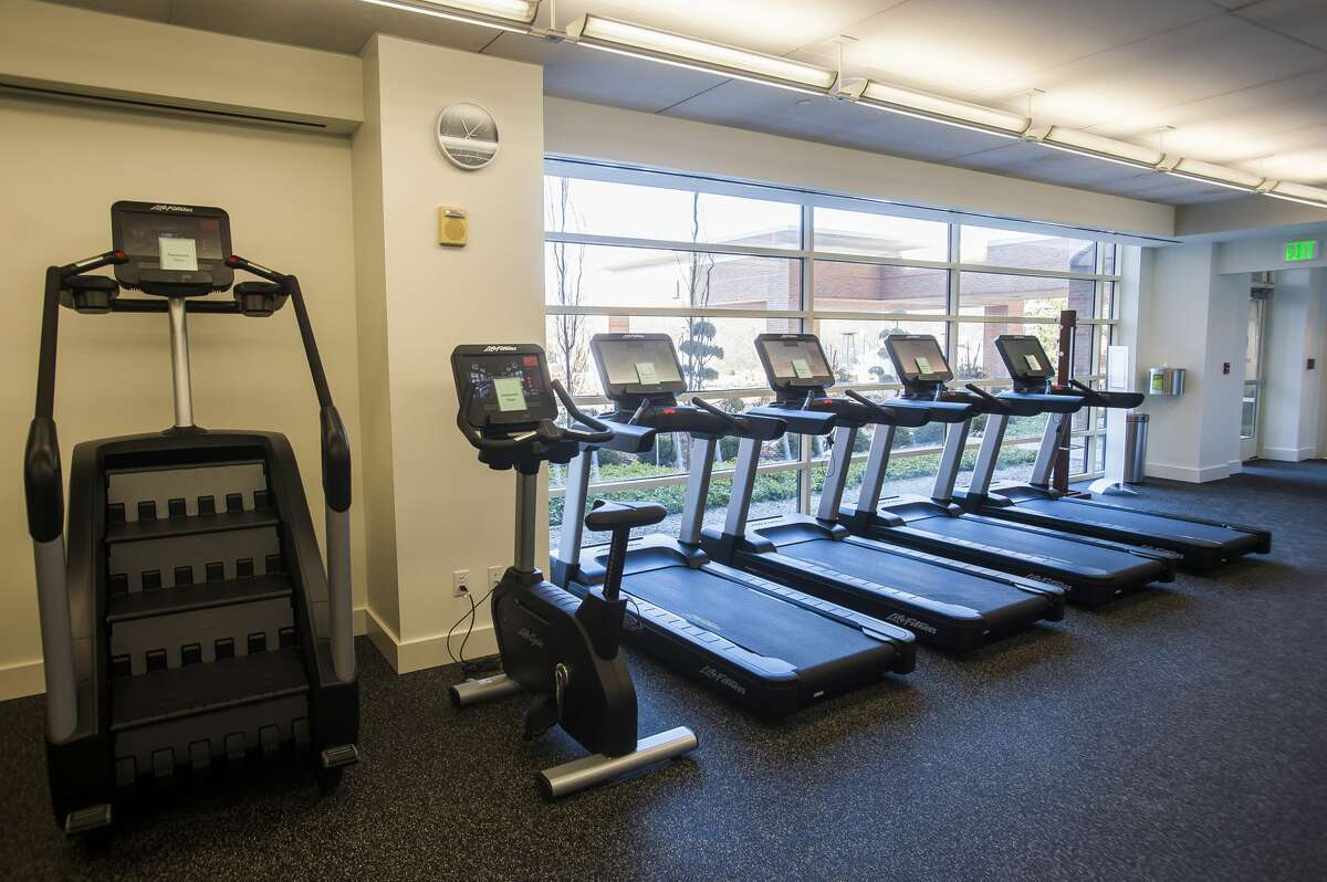 The fitness center inside The H Hotel has been renovated since it sustained water damage during the flood last May. (Katy Kildee/kkildee@mdn.net)