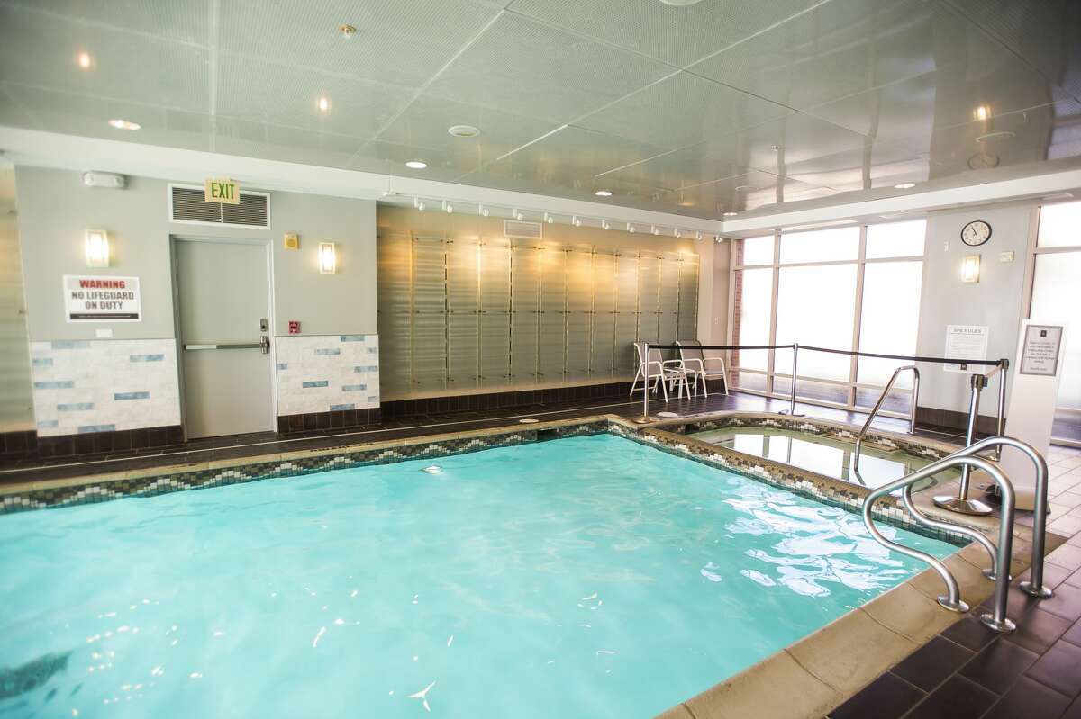 The swimming pool inside The H Hotel has been renovated since it sustained water damage during the flood last May. (Katy Kildee/kkildee@mdn.net)