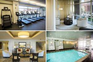Newly renovated spaces in The H Hotel include the fitness center, swimming pool, and main lobby, which all sustained water damage during the flood in May of 2020. (Katy Kildee/kkildee@mdn.net)