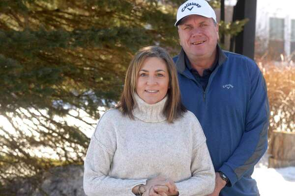 Raymond Bielizna, with wife Ann Bielizna, retired from teaching at the end of the last school year after 21 years at Ridgefield High School. Friday, February 26, 2021, Danbury, Conn.