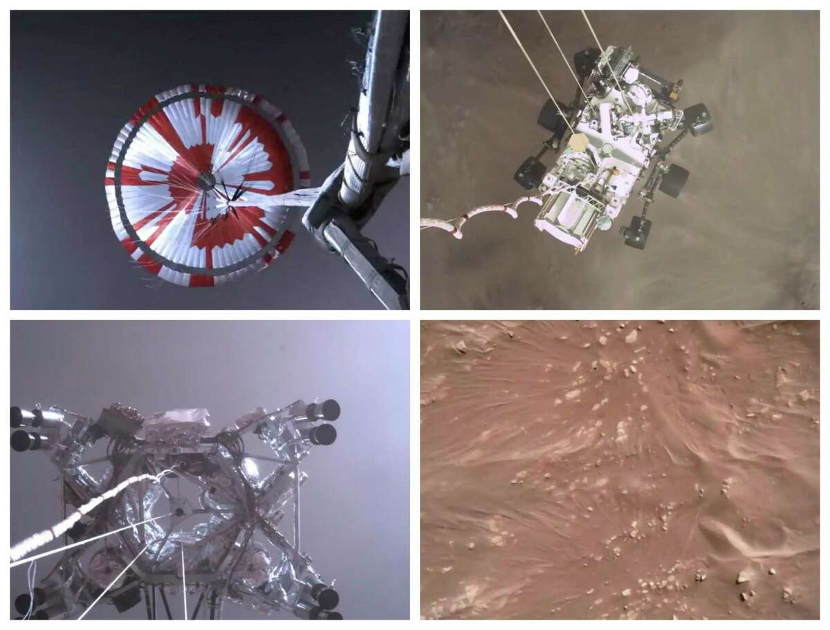 This combination of images from video made available by NASA shows steps in the descent of the Mars Perseverance rover as it approaches the surface of the planet. The flight of Perseverance represented a search for knowledge - a wondrous journey of discovery and enlightenment.