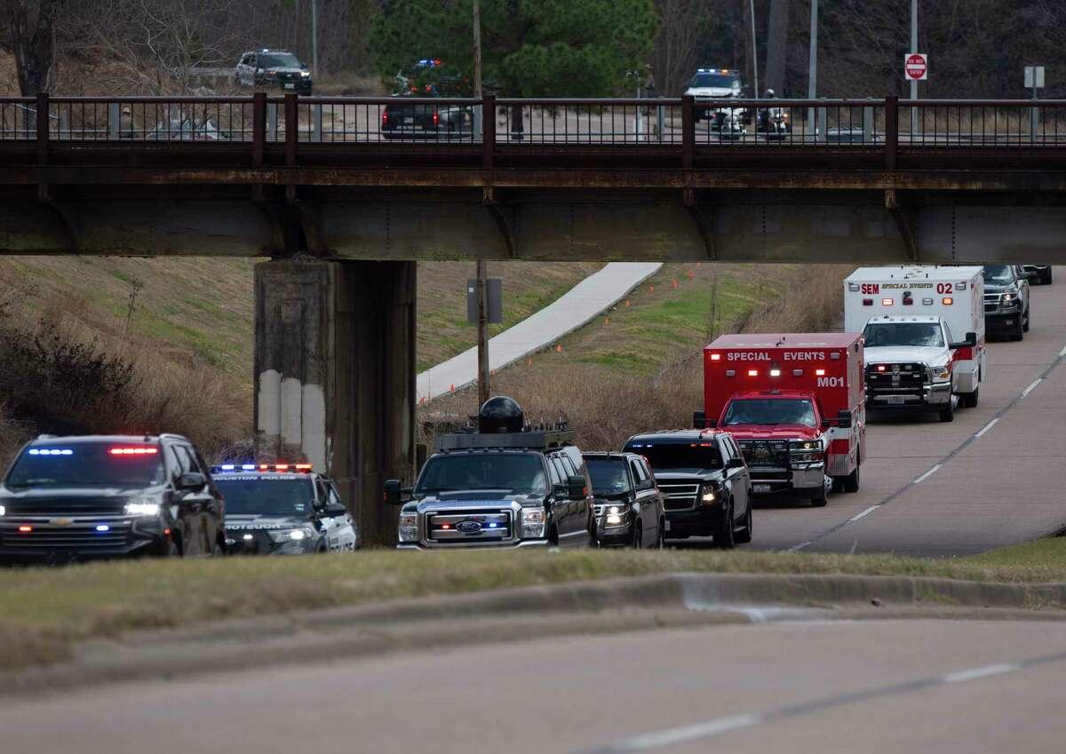 President Joe Biden's motorcade is arriving Harris County Emergency Operations Center for a tour Friday, Feb. 26, 2021, in Houston.