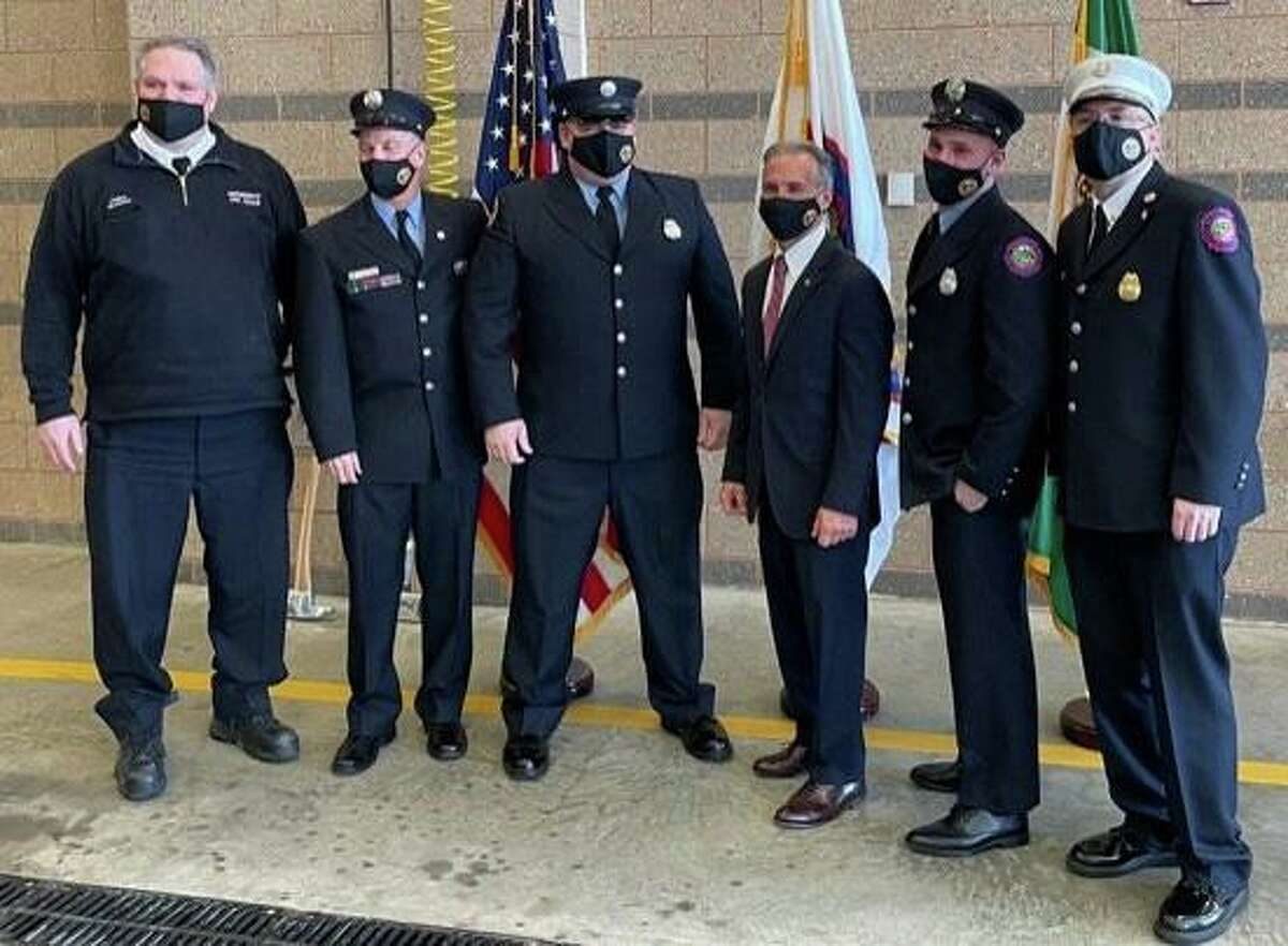 Chief Joseph McHugh, Lt Kevin Coyner, Lt Steven Heaney, First Selectman Fred Camillo , Lt Mike Varanelli, Deputy Chief Thomas Lenart. at the promotion ceremony at fire headquarters on Friday, Feb. 26, 2021. With the promotion, Lenart replaces former Deputy Chief of Training Larry Roberts, who retired at the end of November. Lenart will now head up the department's training division, which oversees all the training conducted for the entire Greenwich Fire Department, McHugh said.